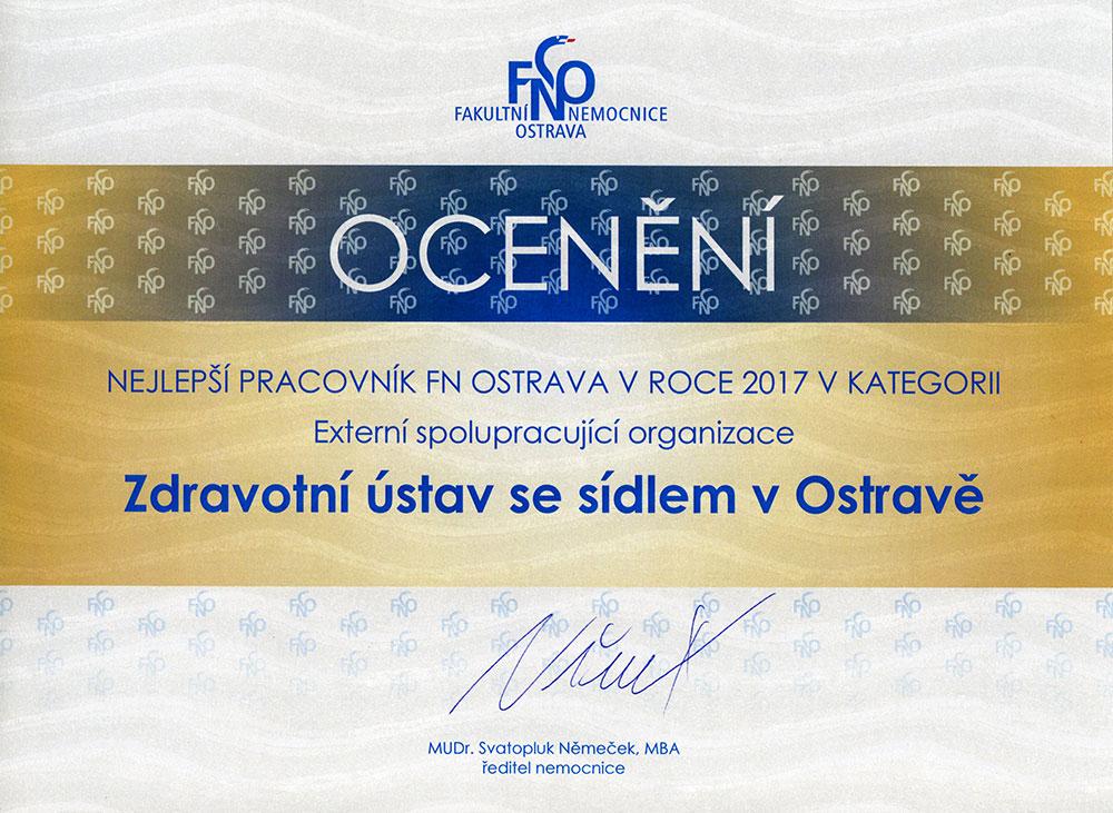 Ocenení Zdravotního ústavu se sídlem v Ostravě